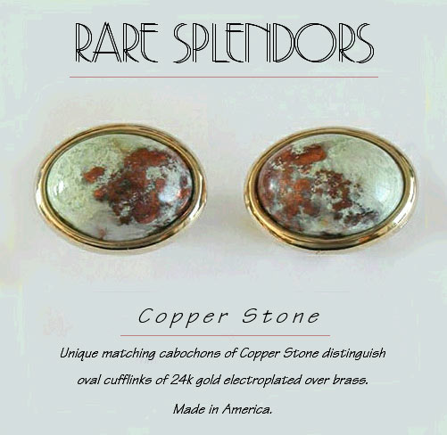 Copper Stone Oval Cufflinks