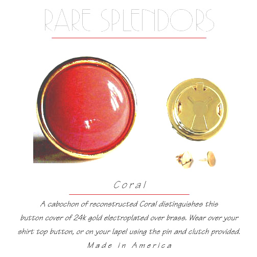Coral Button Covers / Lapel Boutons