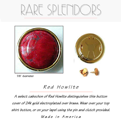 Red Howlite Groomsman Gift Button Cover
