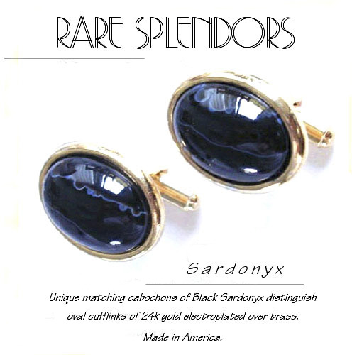 Black Sardonyx Oval Cufflinks